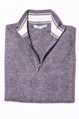 Acélszürke pulóver ZIP-M3428-4203
